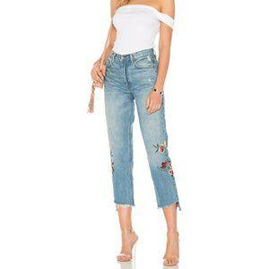 GRLFRND Helena High-Rise Embroidered Crop Jeans